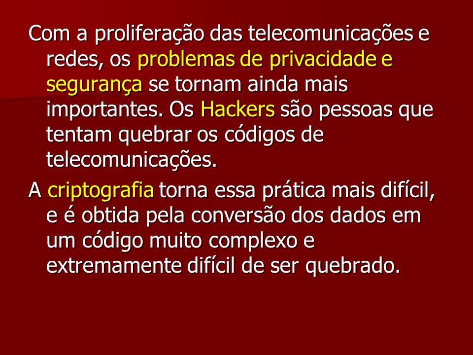Com a proliferação das telecomunicações e redes, os problemas de privacidade e segurança se tornam ainda mais importantes. Os Hackers são pessoas que