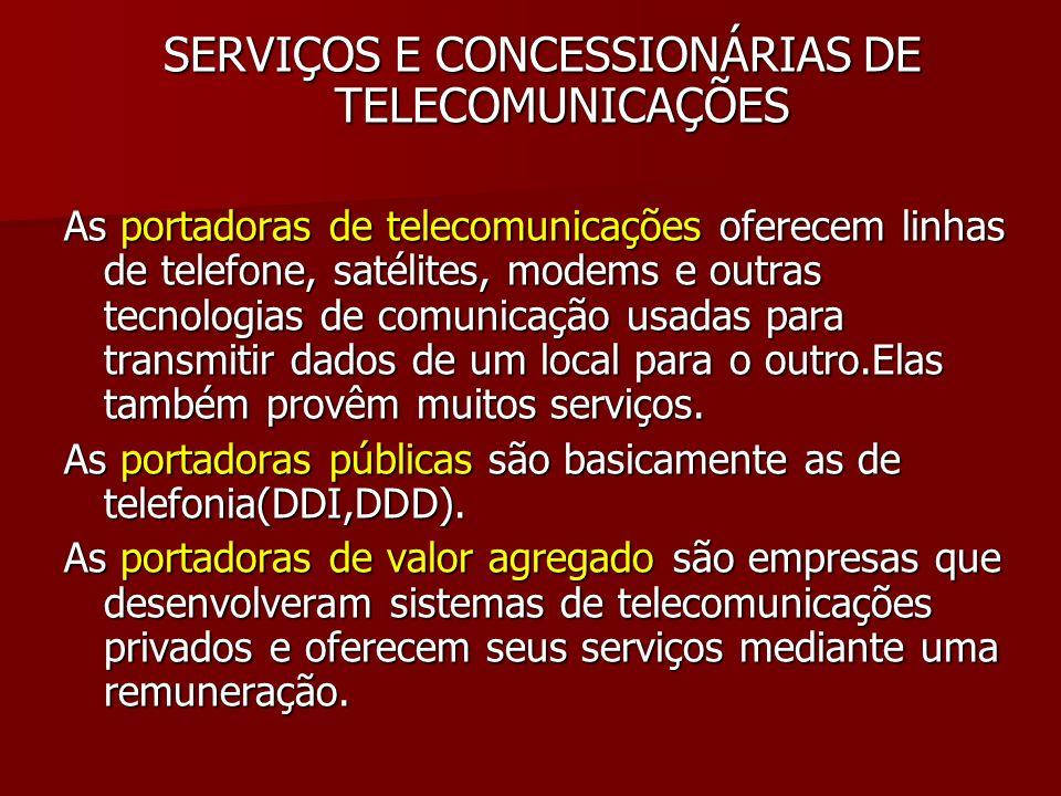 SERVIÇOS E CONCESSIONÁRIAS DE TELECOMUNICAÇÕES As portadoras de telecomunicações oferecem linhas de telefone, satélites, modems e outras tecnologias d