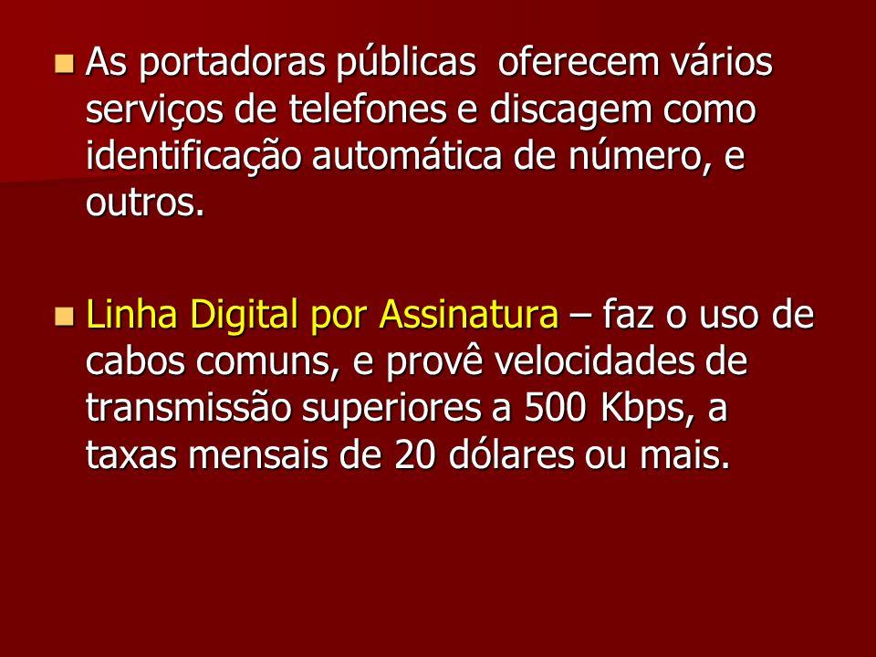 As portadoras públicas oferecem vários serviços de telefones e discagem como identificação automática de número, e outros. As portadoras públicas ofer