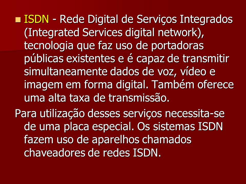 ISDN - Rede Digital de Serviços Integrados (Integrated Services digital network), tecnologia que faz uso de portadoras públicas existentes e é capaz d