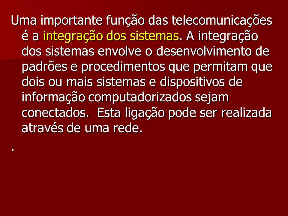 Uma importante função das telecomunicações é a integração dos sistemas. A integração dos sistemas envolve o desenvolvimento de padrões e procedimentos
