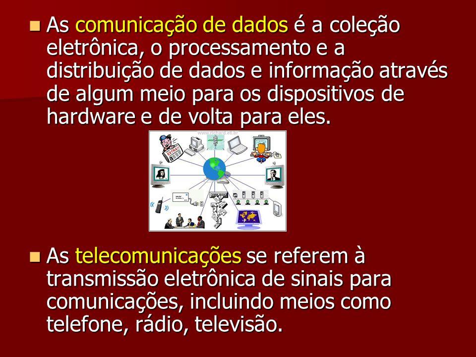 As comunicação de dados é a coleção eletrônica, o processamento e a distribuição de dados e informação através de algum meio para os dispositivos de h