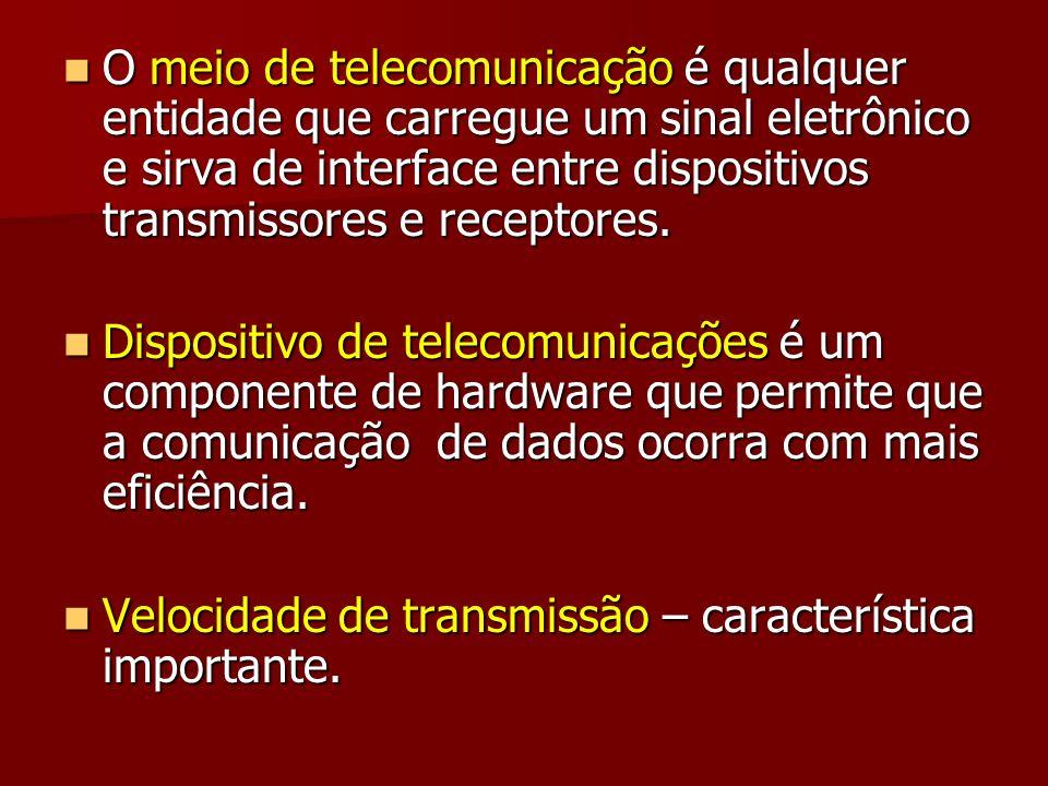 O meio de telecomunicação é qualquer entidade que carregue um sinal eletrônico e sirva de interface entre dispositivos transmissores e receptores. O m