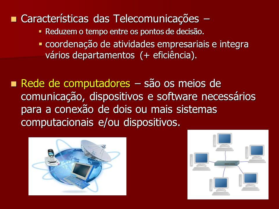 Características das Telecomunicações – Características das Telecomunicações – Reduzem o tempo entre os pontos de decisão. Reduzem o tempo entre os pon