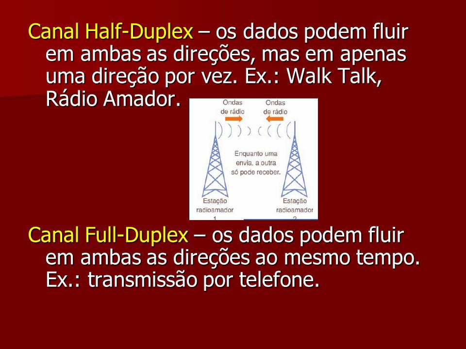 Canal Half-Duplex – os dados podem fluir em ambas as direções, mas em apenas uma direção por vez. Ex.: Walk Talk, Rádio Amador. Canal Full-Duplex – os