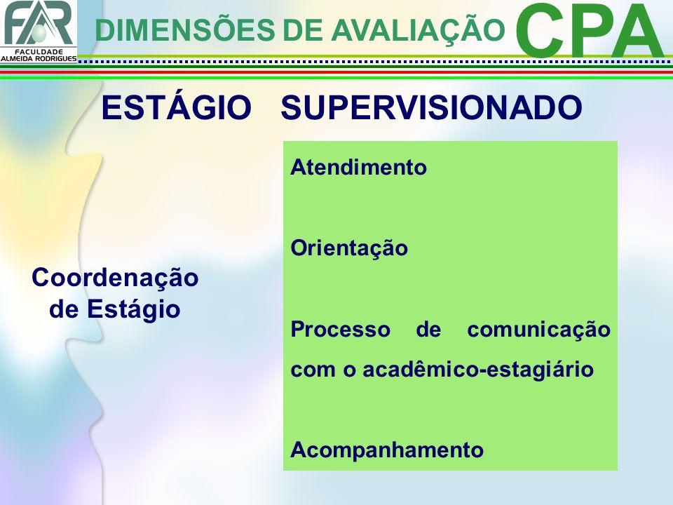 CPA DIMENSÕES DE AVALIAÇÃO ESTÁGIO SUPERVISIONADO Coordenação de Estágio Atendimento Orientação Processo de comunicação com o acadêmico-estagiário Acompanhamento