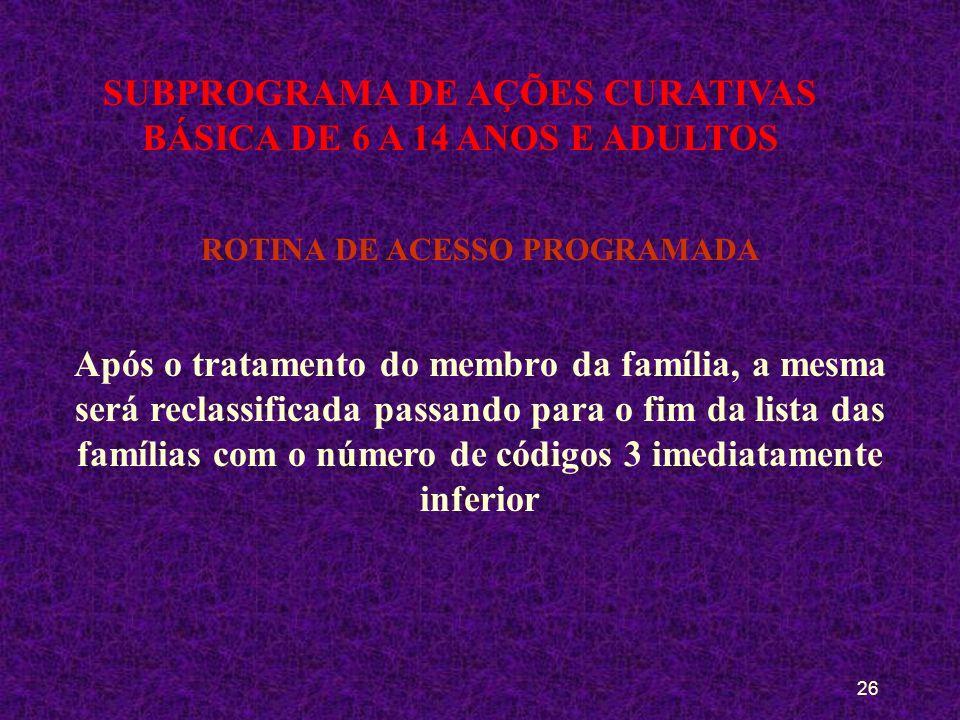 25 SUBPROGRAMA DE AÇÕES CURATIVAS BÁSICA DE 6 A 14 ANOS E ADULTOS ROTINA DE ACESSO Após o tratamento do membro da família, a mesma será reclassificada