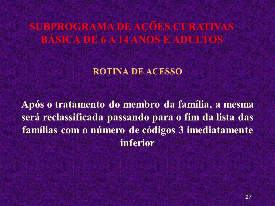 26 SUBPROGRAMA DE AÇÕES CURATIVAS BÁSICA DE 6 A 14 ANOS E ADULTOS ROTINA DE ACESSO PROGRAMADA Após o tratamento do membro da família, a mesma será rec