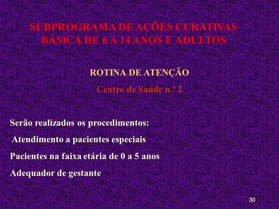 29 SUBPROGRAMA DE AÇÕES CURATIVAS BÁSICA DE 6 A 14 ANOS E ADULTOS ROTINA DE ATENÇÃO Centro de Saúde n.º 1 Serão realizados os procedimentos: Cirúrgico Adequador (gestante) Restaurador (restaurações complexas)