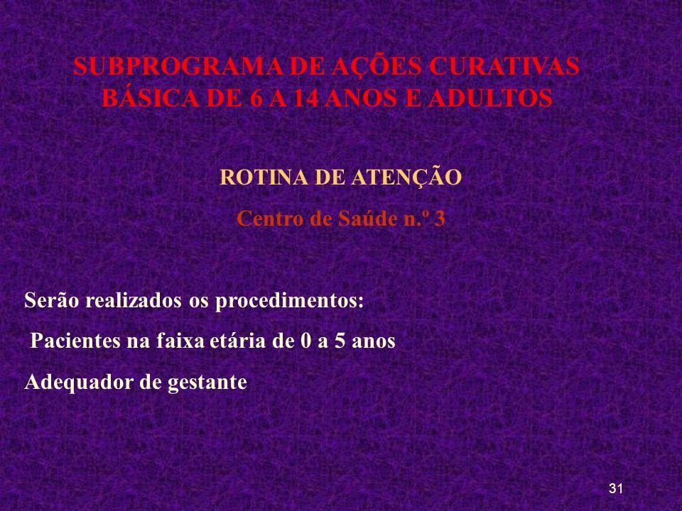 30 SUBPROGRAMA DE AÇÕES CURATIVAS BÁSICA DE 6 A 14 ANOS E ADULTOS ROTINA DE ATENÇÃO Centro de Saúde n.º 2 Serão realizados os procedimentos: Atendimen