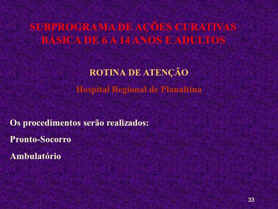 32 SUBPROGRAMA DE AÇÕES CURATIVAS BÁSICA DE 6 A 14 ANOS E ADULTOS ROTINA DE ATENÇÃO CAIC Serão realizados os procedimentos: Referência de urgência e e