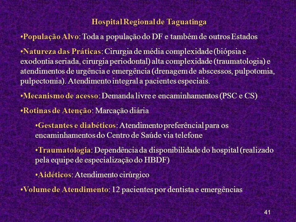 40 Hospital de Base do Distrito Federal População AlvoPopulação Alvo: Toda a população do DF e também de outros Estados Natureza das PráticasNatureza