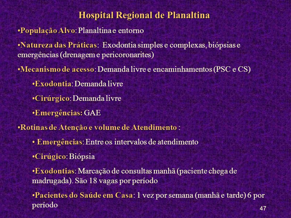 46 Hospital Regional de Sobradinho e Policlínica Número de vagas mês por Regional