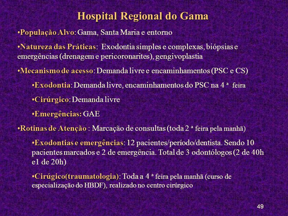 48 Hospital Regional da Asa Norte População AlvoPopulação Alvo: Do DF e entorno Natureza das PráticasNatureza das Práticas: Exodontia simples e comple