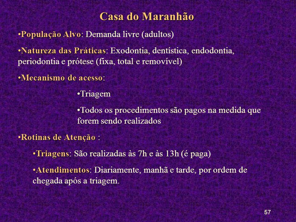 56 Casa do Ceará População AlvoPopulação Alvo: Demanda livre (adultos) Natureza das PráticasNatureza das Práticas: Exodontia, dentística, endodontia,