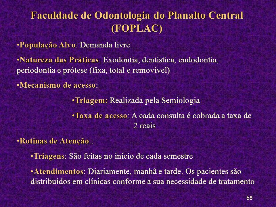 57 Casa do Maranhão População AlvoPopulação Alvo: Demanda livre (adultos) Natureza das PráticasNatureza das Práticas: Exodontia, dentística, endodonti