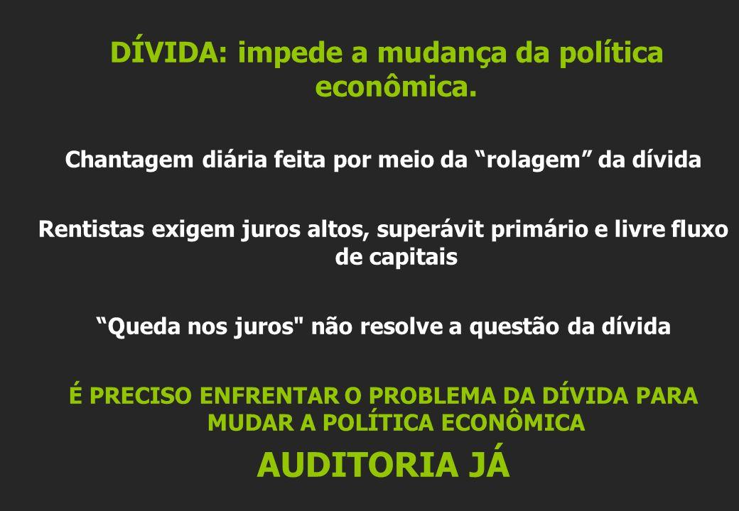 DÍVIDA: impede a mudança da política econômica.