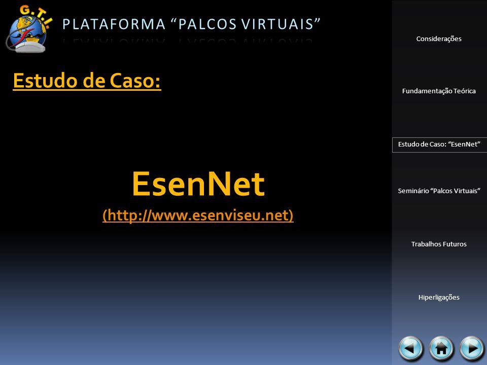 Considerações Fundamentação Teórica Estudo de Caso: EsenNet Seminário Palcos Virtuais Trabalhos Futuros Hiperligações Estudo de Caso: EsenNet (http://