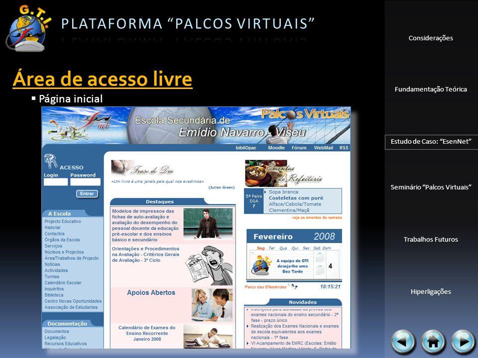 Considerações Fundamentação Teórica Estudo de Caso: EsenNet Seminário Palcos Virtuais Trabalhos Futuros Hiperligações Página inicial Área de acesso li