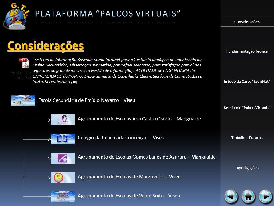 Considerações Fundamentação Teórica Estudo de Caso: EsenNet Seminário Palcos Virtuais Trabalhos Futuros Hiperligações Gestão: Gestão de ementas SIP – Sistema de Informação Pedagógica