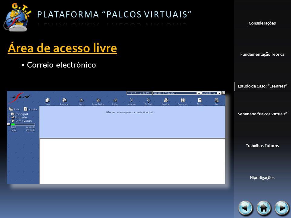Considerações Fundamentação Teórica Estudo de Caso: EsenNet Seminário Palcos Virtuais Trabalhos Futuros Hiperligações Área de acesso livre Correio ele
