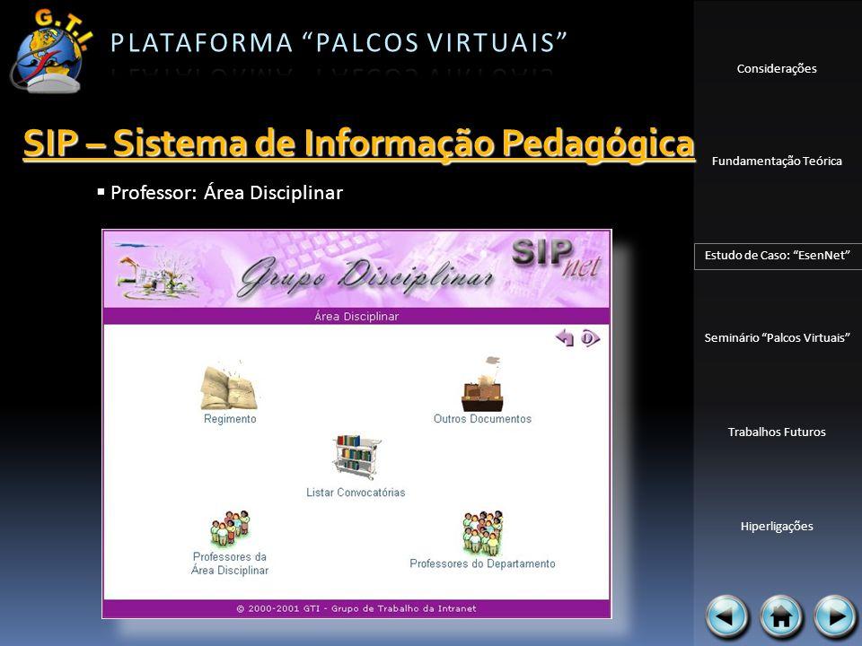 Considerações Fundamentação Teórica Estudo de Caso: EsenNet Seminário Palcos Virtuais Trabalhos Futuros Hiperligações Professor: Área Disciplinar SIP