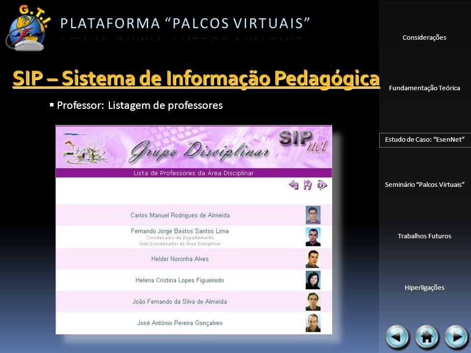 Considerações Fundamentação Teórica Estudo de Caso: EsenNet Seminário Palcos Virtuais Trabalhos Futuros Hiperligações Professor: Listagem de professor