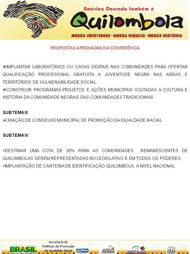 PROGRAMAÇÃO 08H – CREDENCIAMENTO; 08H30 – COMPOSIÇÃO DA MESA (Aerton davi do Nascimento, Edsonia Bispo; Manaceis Bernardo, Alexandre Cavalcante dos Santos e demais autoridades presentes); 09H – HINO MUNICIPAL; 09H15 – ABERTURA OFICIAL – AERTON DAVI DO NASCIMENTO (SECRETÁRIO MUNICIPAL DE DESENVOLVIMENTO SOCIAL E PROMOÇÃO DA CIDADANIA; 09H30 – APRESENTAÇÃO SOBRE A QUESTÃO QUILOMBOLA – EDSÔNIA BISPO (COORDENADORA DO CONSELHO TERRITORIAL QUILOMBOLA); 09h45 - APRESENTAÇÃO DA METODOLOGIA – EDSÔNIA BISPO (COORDENADORA DO CONSELHO TERRITORIAL QUILOMBOLA); 10h – LANCHE; 10H15 – APRESENTÇAÇÃO DOS SUBTEMAS; 11H - APRESENTAÇÃO E APROVAÇÃO DAS PROPOSTAS; 11H45 – ELEIÇÃO DOS DELEGADOS; 11H55 – ENCERRAMENTO; 12H - ALMOÇO.