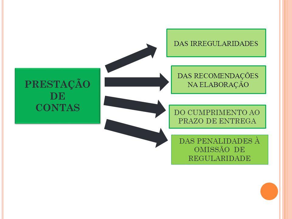 DAS IRREGULARIDADES PRESTAÇÃO DE CONTAS PRESTAÇÃO DE CONTAS DO CUMPRIMENTO AO PRAZO DE ENTREGA DAS RECOMENDAÇÕES NA ELABORAÇÃO DAS PENALIDADES À OMISSÃO DE REGULARIDADE