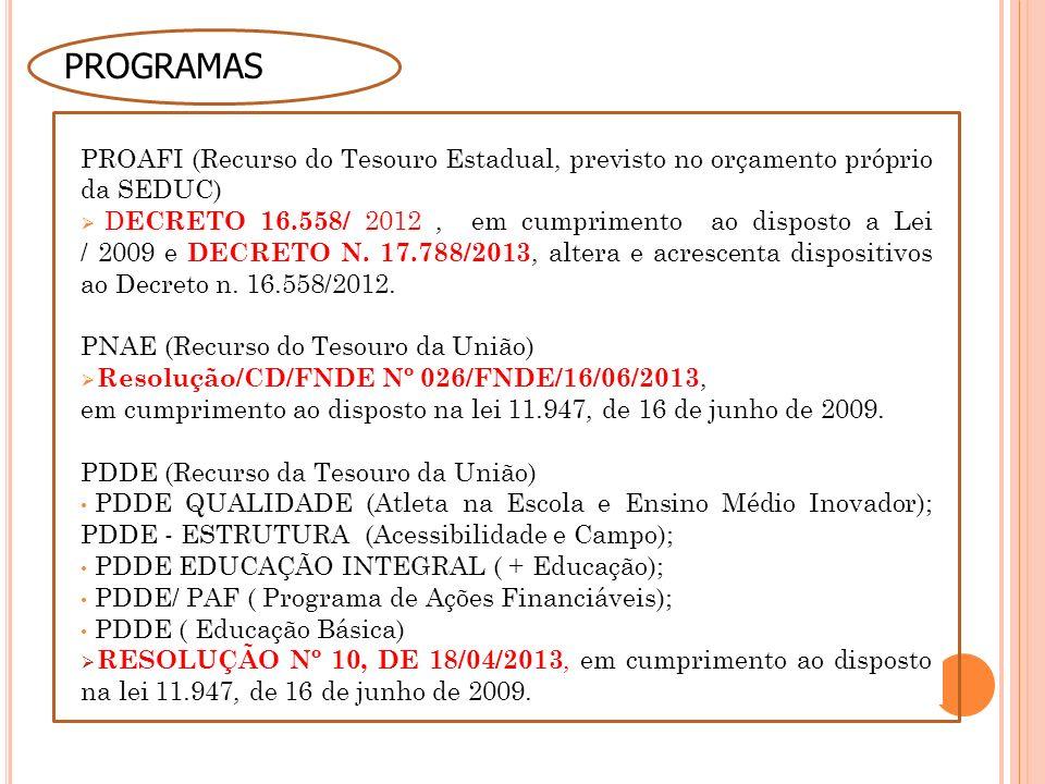 PROAFI (Recurso do Tesouro Estadual, previsto no orçamento próprio da SEDUC) D ECRETO 16.558/ 2012, em cumprimento ao disposto a Lei / 2009 e DECRETO N.