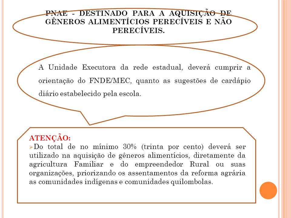 PNAE - DESTINADO PARA A AQUISIÇÃO DE GÊNEROS ALIMENTÍCIOS PERECÍVEIS E NÃO PERECÍVEIS.