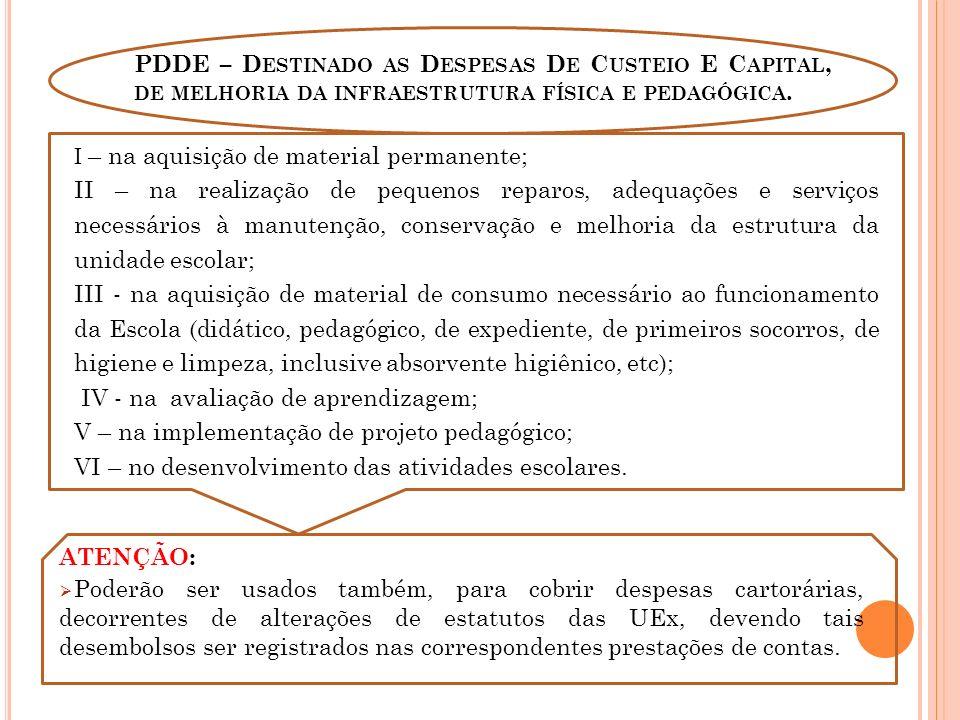 PDDE – D ESTINADO AS D ESPESAS D E C USTEIO E C APITAL, DE MELHORIA DA INFRAESTRUTURA FÍSICA E PEDAGÓGICA.