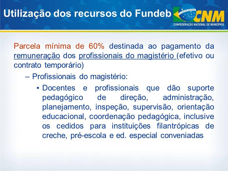 Parcela mínima de 60% destinada ao pagamento da remuneração dos profissionais do magistério (efetivo ou contrato temporário) –Profissionais do magisté