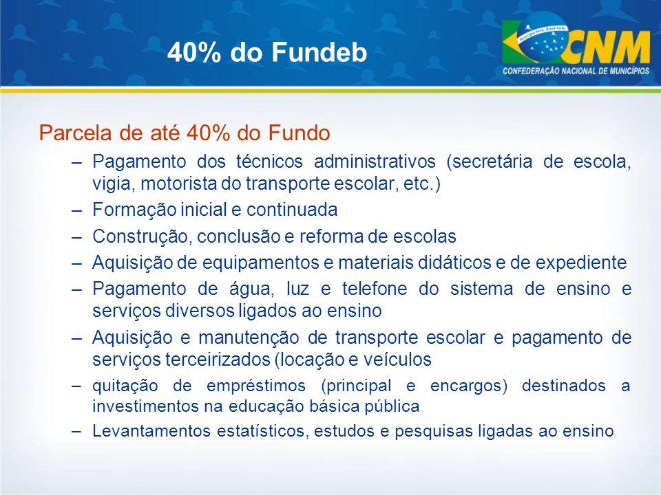 40% do Fundeb Parcela de até 40% do Fundo –Pagamento dos técnicos administrativos (secretária de escola, vigia, motorista do transporte escolar, etc.)