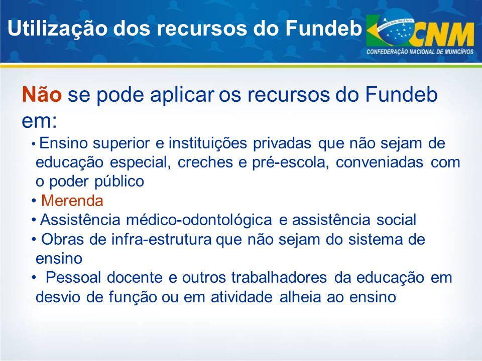 Utilização dos recursos do Fundeb Não se pode aplicar os recursos do Fundeb em: Ensino superior e instituições privadas que não sejam de educação espe