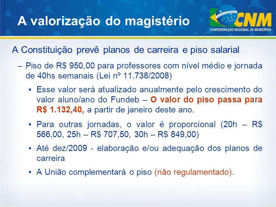 A valorização do magistério A Constituição prevê planos de carreira e piso salarial –Piso de R$ 950,00 para professores com nível médio e jornada de 4