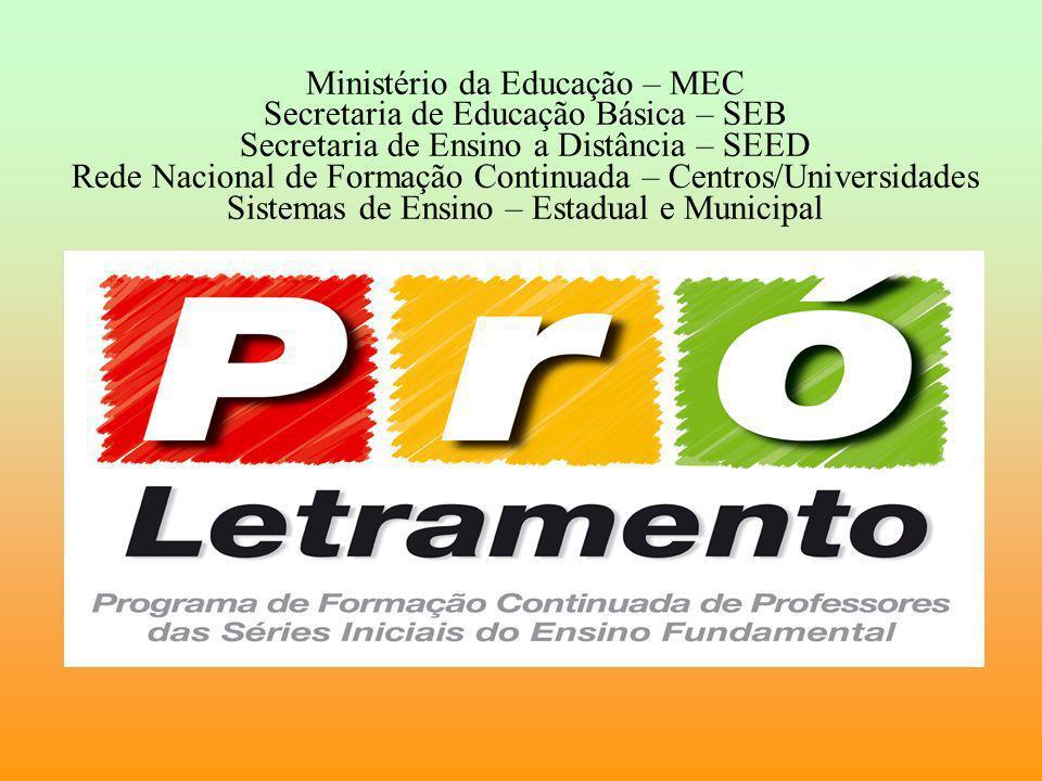 Ministério da Educação – MEC Secretaria de Educação Básica – SEB Secretaria de Ensino a Distância – SEED Rede Nacional de Formação Continuada – Centro
