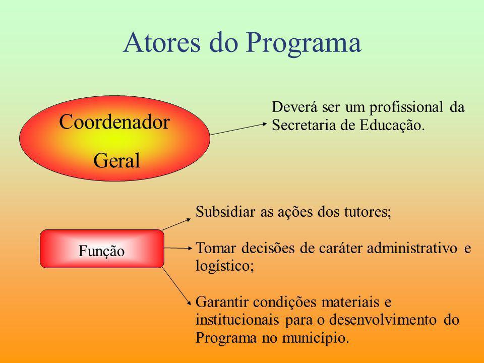 Atores do Programa Coordenador Geral Deverá ser um profissional da Secretaria de Educação. Função Subsidiar as ações dos tutores; Tomar decisões de ca