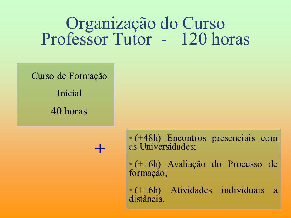 Organização do Curso Professor Tutor - 120 horas Curso de Formação Inicial 40 horas (+48h) Encontros presenciais com as Universidades; (+16h) Avaliaçã