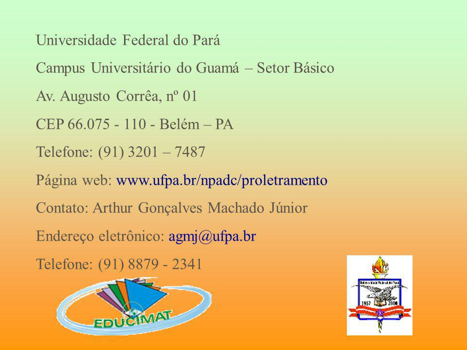 Universidade Federal do Pará Campus Universitário do Guamá – Setor Básico Av. Augusto Corrêa, nº 01 CEP 66.075 - 110 - Belém – PA Telefone: (91) 3201
