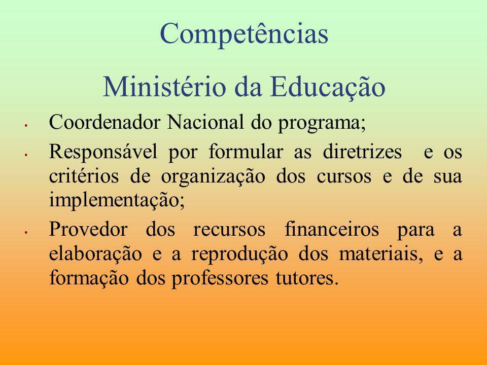 Competências Ministério da Educação Coordenador Nacional do programa; Responsável por formular as diretrizes e os critérios de organização dos cursos