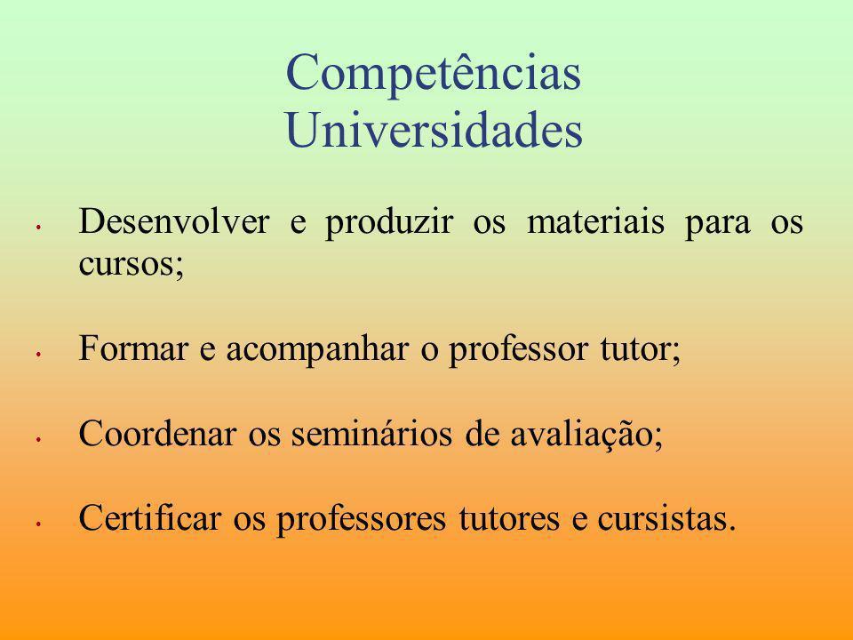 Competências Universidades Desenvolver e produzir os materiais para os cursos; Formar e acompanhar o professor tutor; Coordenar os seminários de avali