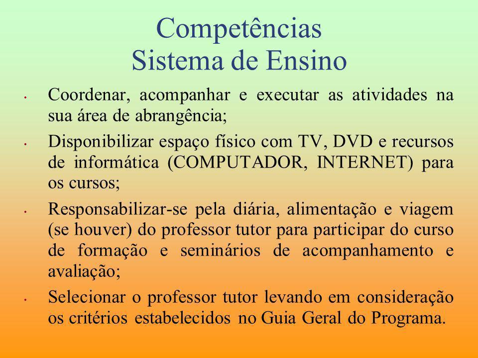 Competências Sistema de Ensino Coordenar, acompanhar e executar as atividades na sua área de abrangência; Disponibilizar espaço físico com TV, DVD e r