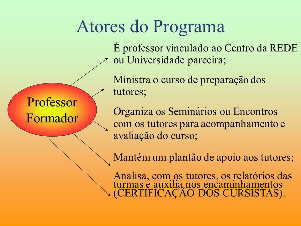 Atores do Programa Professor Formador É professor vinculado ao Centro da REDE ou Universidade parceira; Ministra o curso de preparação dos tutores; Or