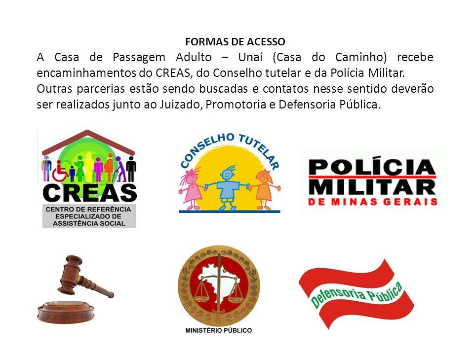 FORMAS DE ACESSO A Casa de Passagem Adulto – Unaí (Casa do Caminho) recebe encaminhamentos do CREAS, do Conselho tutelar e da Polícia Militar.