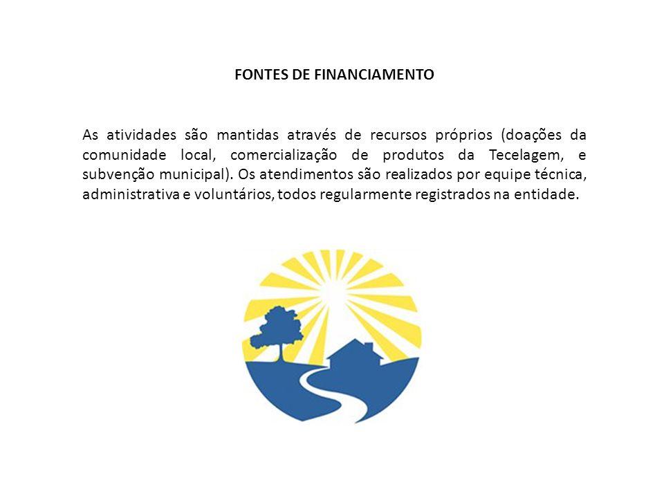 FONTES DE FINANCIAMENTO As atividades são mantidas através de recursos próprios (doações da comunidade local, comercialização de produtos da Tecelagem, e subvenção municipal).