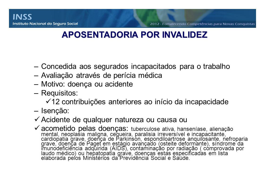 –Concedida aos segurados incapacitados para o trabalho –Avaliação através de perícia médica –Motivo: doença ou acidente –Requisitos: 12 contribuições