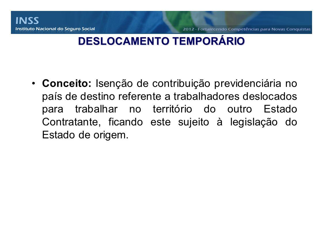DESLOCAMENTO TEMPORÁRIO Conceito: Isenção de contribuição previdenciária no país de destino referente a trabalhadores deslocados para trabalhar no ter