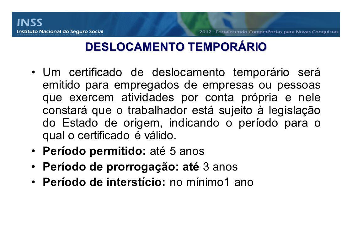 DESLOCAMENTO TEMPORÁRIO Um certificado de deslocamento temporário será emitido para empregados de empresas ou pessoas que exercem atividades por conta