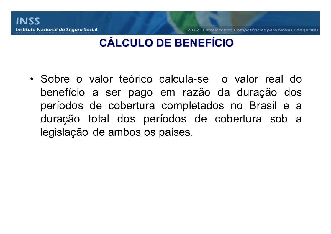 CÁLCULO DE BENEFÍCIO Sobre o valor teórico calcula-se o valor real do benefício a ser pago em razão da duração dos períodos de cobertura completados n